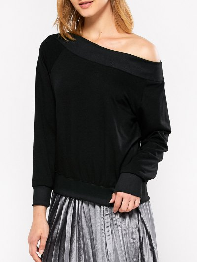 Casual One-Shoulder Sweatshirt - BLACK L Mobile