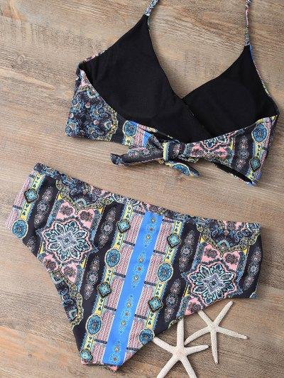 Retro Printed Wrap Bikini - COLORMIX S Mobile