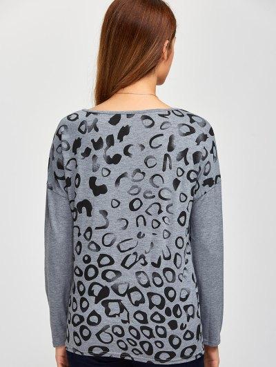 Scoop Collar Printed Tee - GRAY L Mobile