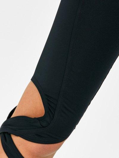 Cut Out Bandage Cropped Yoga Leggings - BLACK XL Mobile