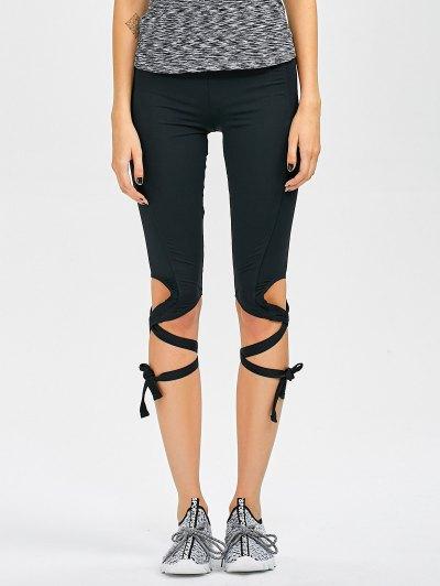 Cut Out Bandage Cropped Yoga Leggings - BLACK L Mobile