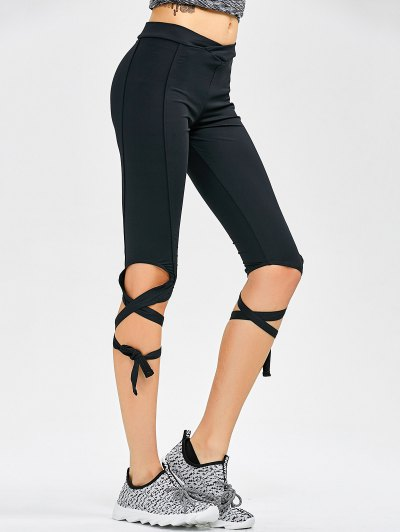 Cut Out Bandage Cropped Yoga Leggings - BLACK S Mobile