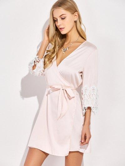 Lacing Spliced Cosy Kimono - PINKBEIGE L Mobile
