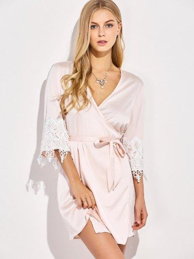 Lace Spliced Cosy Kimono - PINKBEIGE M Mobile