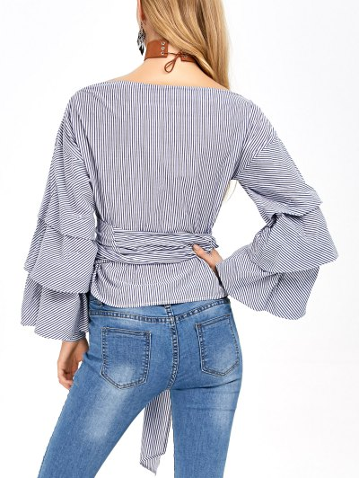 Layered Sleeve Striped Wrap Blouse - BLUE AND WHITE L Mobile