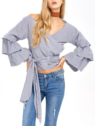 Layered Sleeve Striped Wrap Blouse - BLUE AND WHITE M Mobile