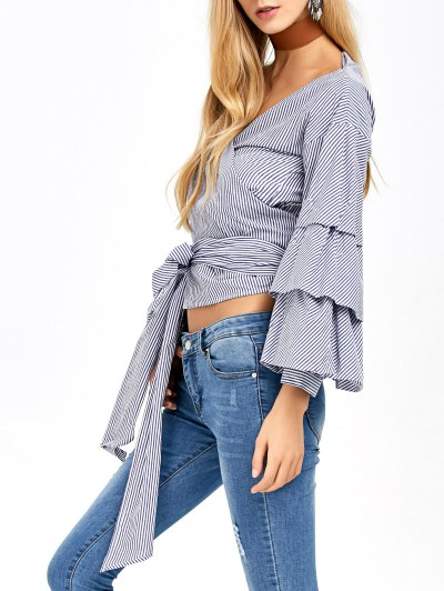Layered Sleeve Striped Wrap Blouse - BLUE AND WHITE S Mobile