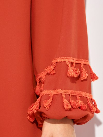 V Neck Tassel Blouse - RED XL Mobile