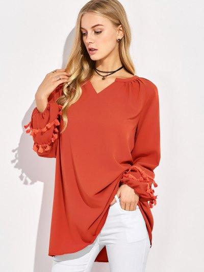 V Neck Tassel Blouse - RED L Mobile