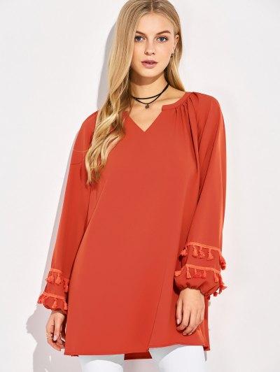 V Neck Tassel Blouse - RED S Mobile