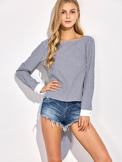 Backless Bowknot Striped Blouse - STRIPE XL Mobile