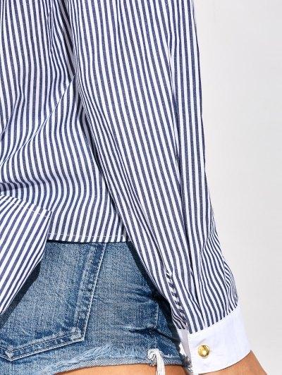 Backless Bowknot Striped Blouse - STRIPE L Mobile