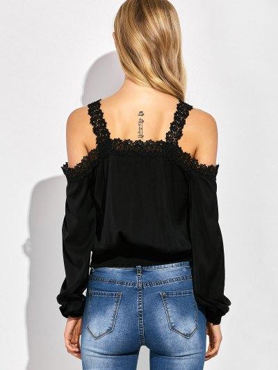 Cold Shoulder Lace Panel Blouse - BLACK M Mobile