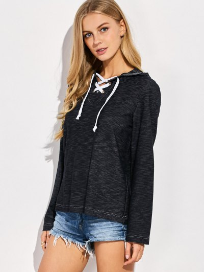 Lace Up Long Sleeve Hoodie - BLUE L Mobile