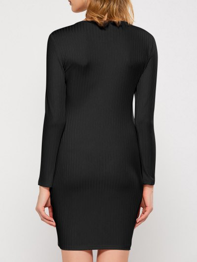 Lace Up Plunging Neck Bodycon Dress - BLACK L Mobile