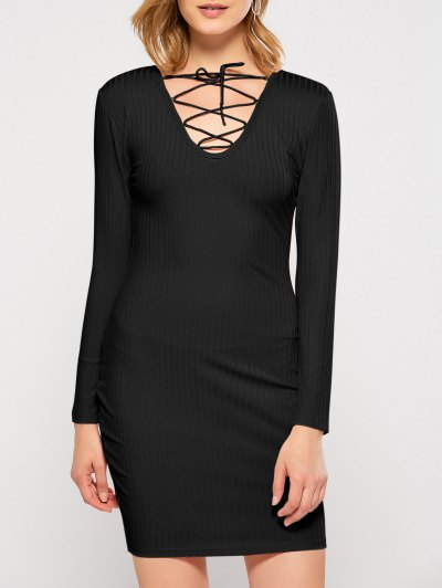 Lace Up Plunging Neck Bodycon Party Dress - Black