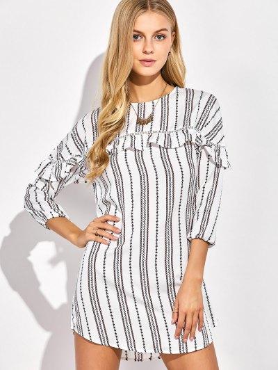 Round Neck Ruffles Striped Shift Dress - WHITE L Mobile