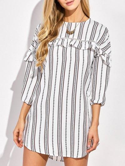 Round Neck Ruffles Striped Shift Dress - White