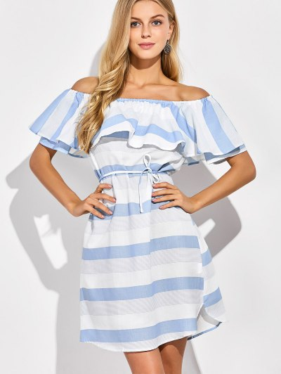 Ruffles Off The Shoulder Striped Dress - BLUE AND WHITE 2XL Mobile