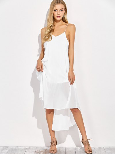 Backless High Low Slip Dress - WHITE S Mobile