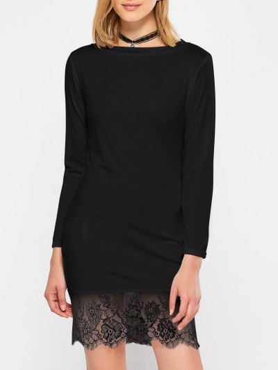 Lace Spliced Slash Neck Dress - BLACK L Mobile