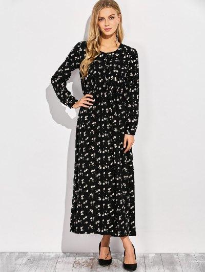 Scoop Neck Tiny Flower Maxi Dress - BLACK M Mobile