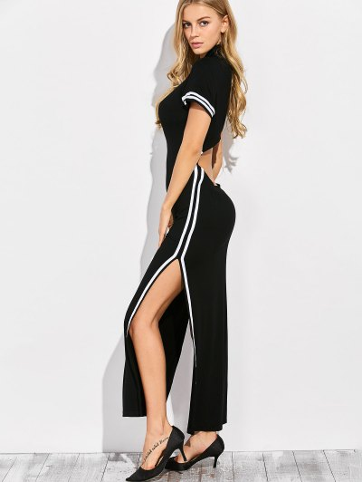 Cut Out Side Slit Maxi Dress - BLACK XL Mobile