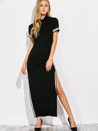 Cut Out Side Slit Maxi Dress - BLACK S Mobile