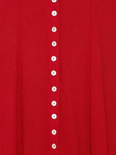 Racerback Plunging Neck Front Slit Maxi Dress - RED XL Mobile