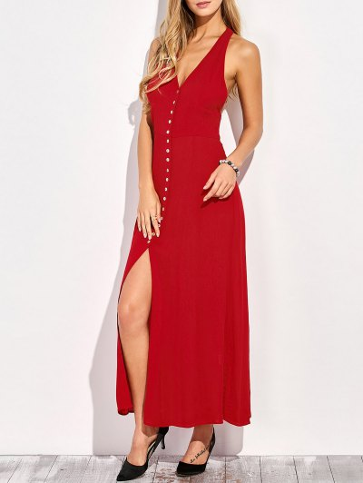 Racerback Plunging Neck Front Slit Maxi Dress - RED L Mobile