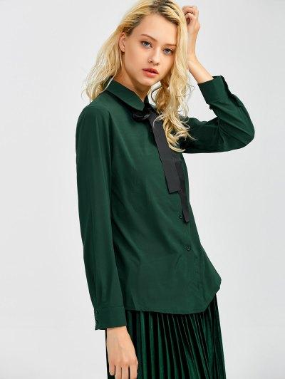 Boyfriend Long Sleeve Bowknot Shirt - BLACKISH GREEN L Mobile