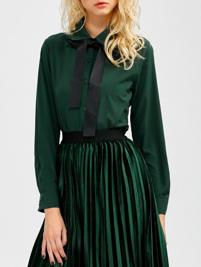 Boyfriend Long Sleeve Bowknot Shirt - BLACKISH GREEN M Mobile