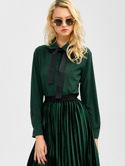 Boyfriend Long Sleeve Bowknot Shirt - BLACKISH GREEN S Mobile