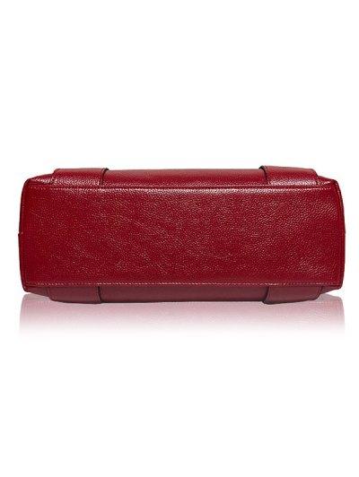 Textured PU Leather Handbag Set - WINE RED  Mobile