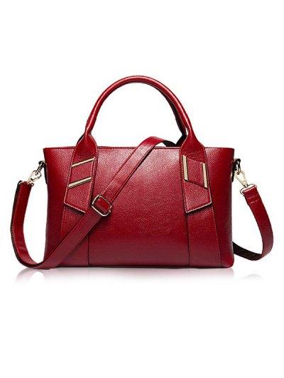 Textured PU Leather Handbag Set - BLACK  Mobile