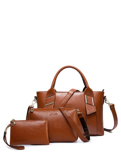 Textured PU Leather Handbag Set - BROWN  Mobile