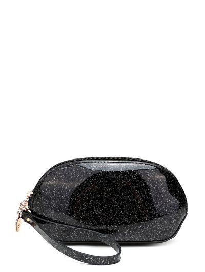 Glitter Zip Around Patent Leather Wristlet - BLACK  Mobile