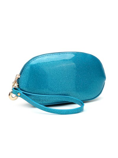 Glitter Zip Around Patent Leather Wristlet - OFF-WHITE  Mobile