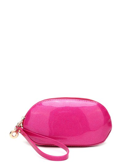 Glitter Zip Around Patent Leather Wristlet - ROSE RED  Mobile