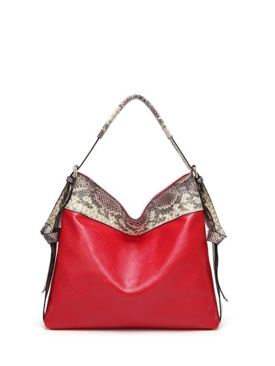 Snake Print Panel Shoulder Bag - RED  Mobile