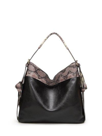 Snake Print Panel Shoulder Bag - BLACK  Mobile
