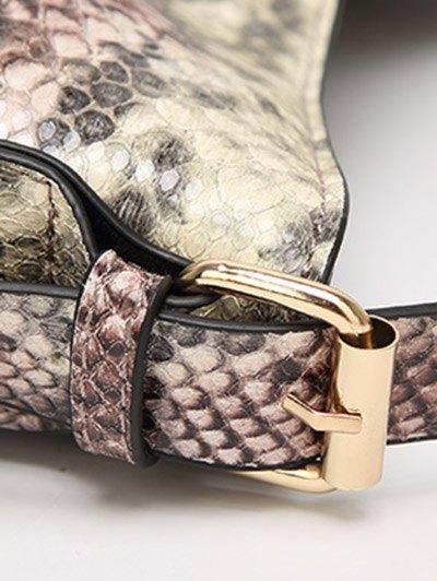 Snake Print Panel Shoulder Bag - GRAY  Mobile