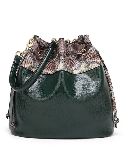 Snake Print Panel Bucket Bag - GRAY  Mobile