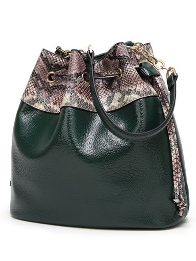 Snake Print Panel Bucket Bag - BLACK  Mobile