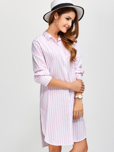 Slit Loose Striped Shirt - PINK XL Mobile