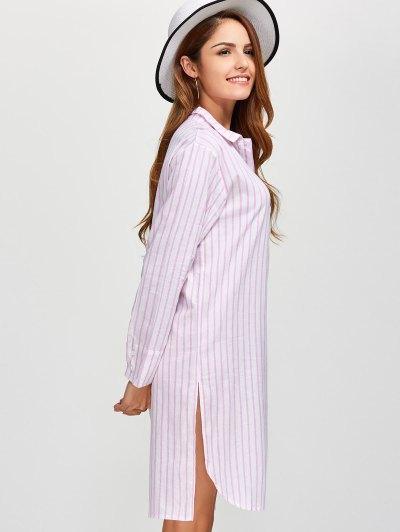 Slit Loose Striped Shirt - PINK L Mobile