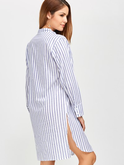 Slit Loose Striped Shirt - BLUE S Mobile
