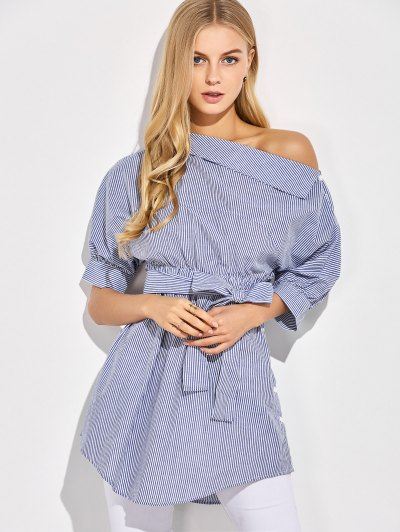 Striped Casual One-Shoulder Blouse - BLUE XL Mobile
