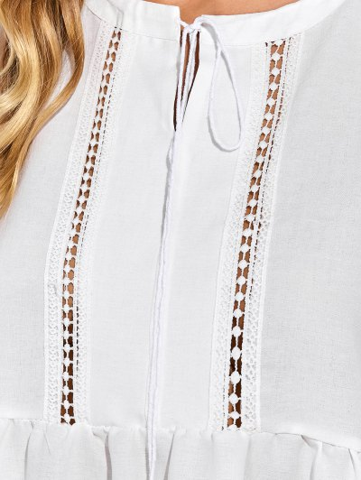 Oversized Cut Out Blouse - WHITE M Mobile