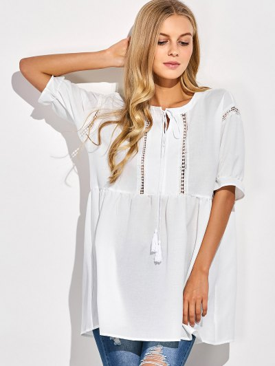 Oversized Cut Out Blouse - WHITE S Mobile